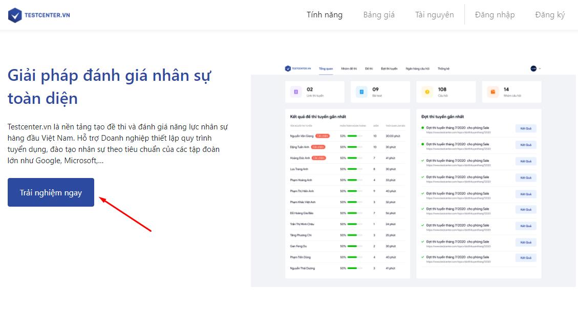 Tạo bài kiểm tra online tại TestCenter.vn
